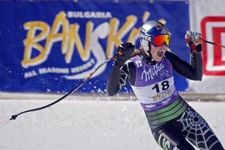 Победителката Линдзи Вон, САЩ, ликува след финала на спускането. Снимка: Ройтерс