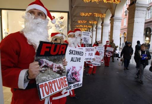 """Природозащитници, облечени като Дядо Коледа, държат постери с надпис """"Честита Коледа без животинска кожа"""" в Ница, Югоизточна Франция. Снимка : Ройтерс"""