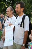 Участници в протеста в градинката между Ректората и Софийския университет.