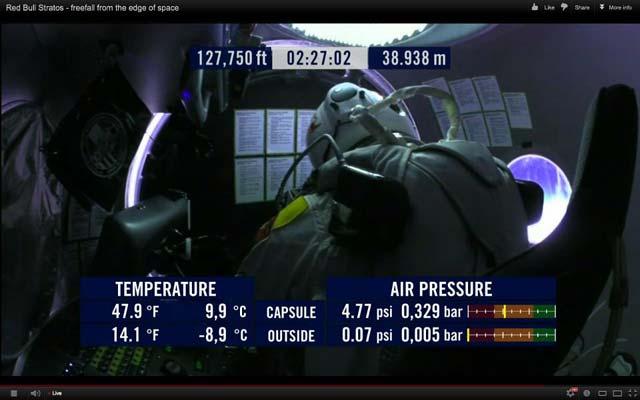 Феликс Баумгартнер в кабината на 38 938 метра височина. Снимки: скриншотове от екрана