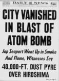 """Заглавието на """"Дейли нюз"""" - """"Трад разрушен от взрива на атомна бомба""""."""