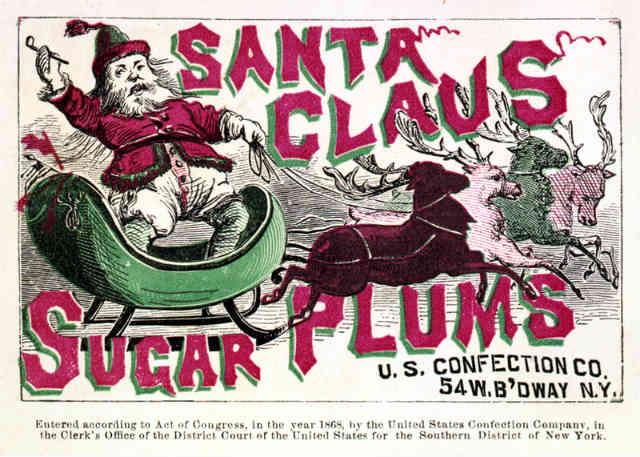 Реклама с дядо Коледа от 1868 г.