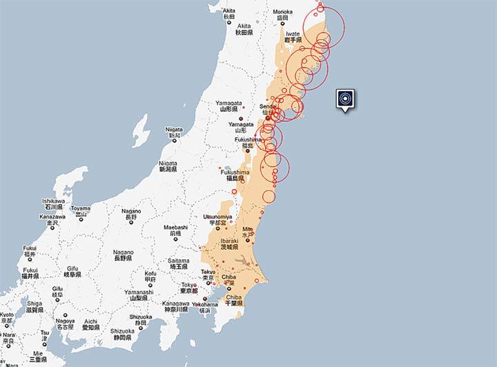 Карта на пораженията от цунами в Япония