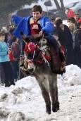 Момче язди магаре и радва публиката на стадиона. Снимки: Нели Томова