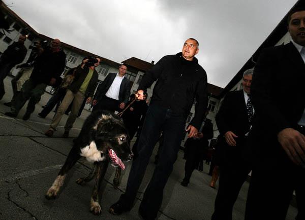 След гласуването Бойко Борисов поведе едно от кучетата си, придружен от журналисти и симпатизанти. Снимки: Валентина Петрова