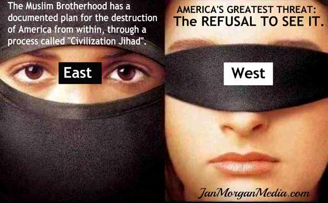 """Част от множеството лозунги и цитати против политическата коректност, които се разпространяват в интернет. Надписите гласят: Изток (вляво) - Мюсюлманското братство има документиран план за унищожаване на Америка отвътре, чрез процес наречен """"цивилизационен джихад"""". Запад (вдясно) - Най-голямата заплаха за Америка – отказът да види това."""