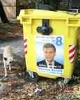 Контейнерите за смет са сред любимите места за лепене на предизборни плакати. Снимка: Нели Томова