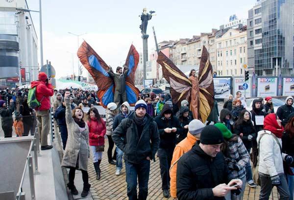 Момент от шествието срещу шистовия газ в София в събота. Снимка: Евелина Маринова, Иван Маринов, Фейсбук