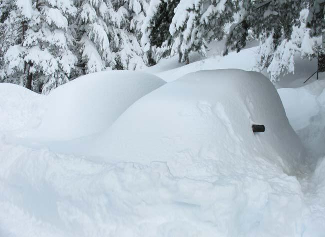 Затрупани коли на паркинга под хижа Мальовица в неделя, след снеговалежа. Снимка: Неда Иванова