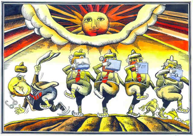 Карикатура от Георги Чаушов - изритването на Тодор Живков, първата срещу властта след 10 ноември.