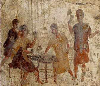 Стенопис от римско време с играчи на табла.