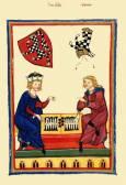 Средновековна рисунка с играещи на табла.