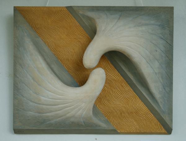 """""""На двата бряга"""" (авт.Стелиян Стелиянов) - експонат от Втория салон на дърворезбарското изкуство, който се помещава в Даскаловата къща."""