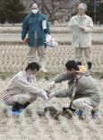 Служители взимат проби от почвата в оризова нива в префектура Фукишима, за да установят дали има радиоактивно заразяване. Снимка: ЕПА/АП/БТА