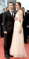 Кийра Найтли заедно с партньора си от филма Atonement Джеймс Макавой. Снимка: Ройтерс